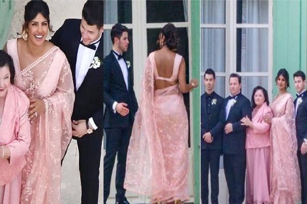 PICS: जो जोनस की शादी में पारंपरिक परिधान साड़ी में नजर आईं प्रियंका, वायरल हुई फोटो