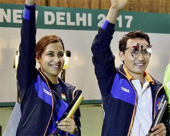 Image result for भारत के जीतू-हीना ने 10 मी एयर पिस्टल मिश्रित स्पर्धा जीती