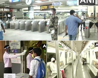 PICS: दिल्ली सहित देश के कई शहरों में एहतियात के साथ शुरू हुई मेट्रो सेवा
